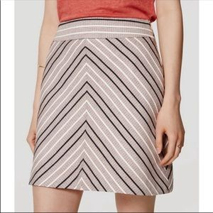 Loft Navy Peach Chevron A-line Skirt 4